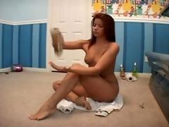 sarah blake lotioning up previous to tanning