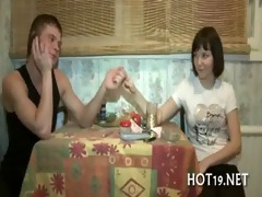cute gal receives group-fucked