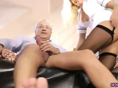 euro nurse rides old guy