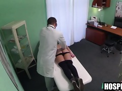 foxy golden-haired patient getting massaged by