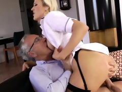 blond euro sweetheart copulates old mans jock