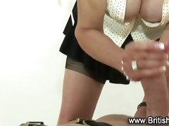 old whore gives handjob to younger lad