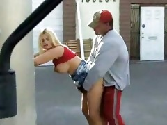 breasty chick screwed by lustful dad in public
