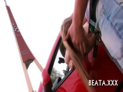 steaming sex play in a car