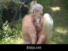 bearded oldman trio with blonde legal age