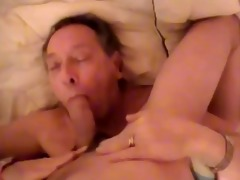 old man engulf a young chap and get a facial