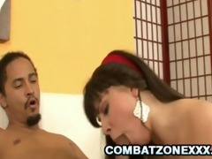 amber skye - gorgeous teen riding an ugly ramrod