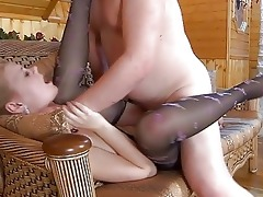 youthful golden-haired in pantyhose receives