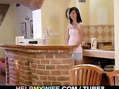 old guy watches his wife drilled