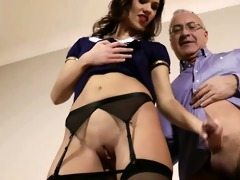 stylish brittish babe rides old dude