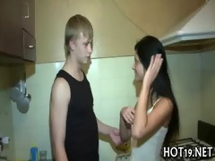 hot chick is gangbanged hard