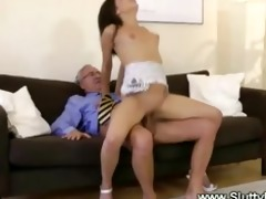 juvenile brunette screwed by old boy on bed