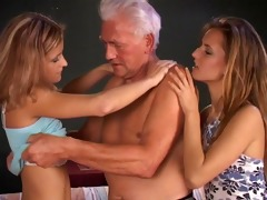hot youthful sweethearts fucking a senior!