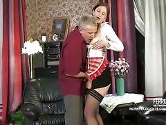 old rod copulates juvenile russian maid