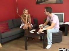 she is loses at undress poker and gets drilled by