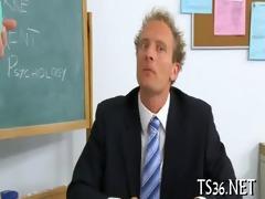 large guy drills schoolgirl