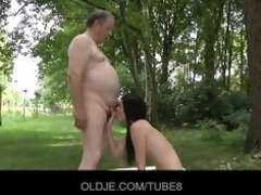 sexy brunetted drilled by gross old chap