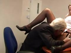 old geezer goes down on juvenile slut on his