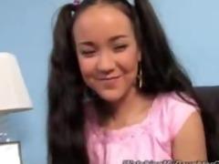 cute oriental daughter drilled by dark boy