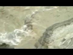 white haired chest dad hidden beach