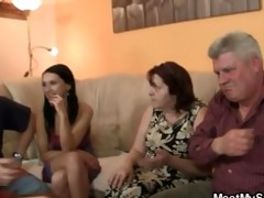 his gf is enticed by old mama and drilled by old