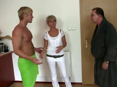 his old mom and daddy tricks her into three-some