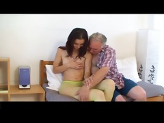 miniature tittted beauty acquires fucked by old