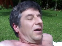 fucking a playgirl with large tits in my garden