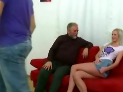 golden-haired hotty fucked by old stud when her