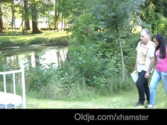 youthful brunette hair bonks a foreign aged guy