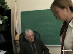young whore copulates old teacher to pass the