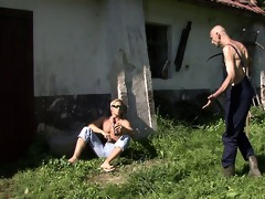 old stud pleases his son\s cheating gf outdoors