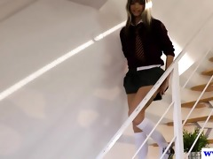 youthful euro schoolgirl teases old dude