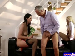 classy babes threeway with old stud