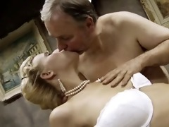 slim&;busty golden-haired hotty bonks an old