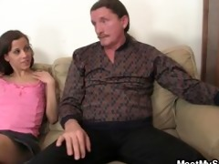 concupiscent gf jumps on her bfs dad cock