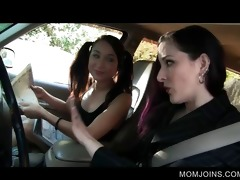 hot mommy and daughter talked into fucking