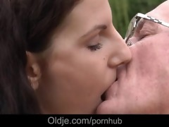 old fart fucking youthful brunette hair doxy