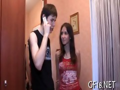glamorous legal age teenager gal stands doggy