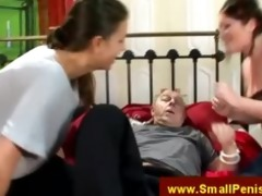 babes belts down grandad to daybed