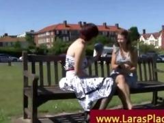 older lady picks up younger angel for her