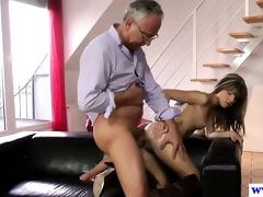 young european slut copulates old mans penis